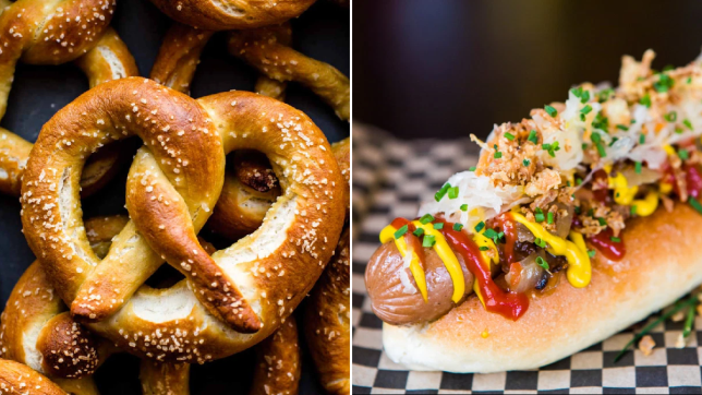 Split image of a vegan pretzel and a vegan bratwurst for Vegtober fest - the vegan Octoberfest