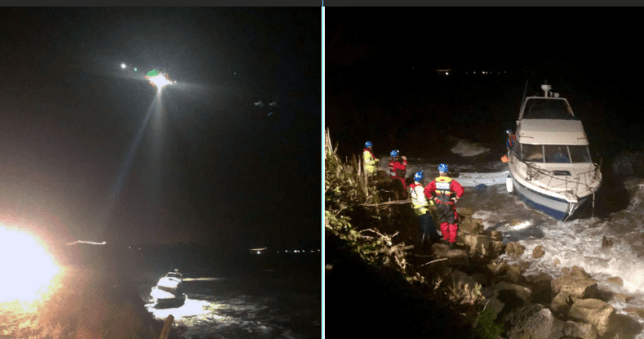 Boat crashing into rocks at night in Weymouth, Dorset