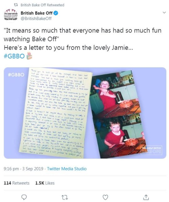 Great British Bake Off 2019: Jame Finn posts emotional