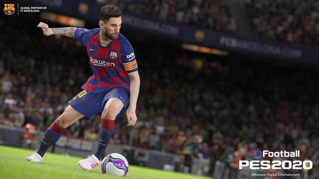 Football player Messi in game PES 202 is about to take a shot at goal