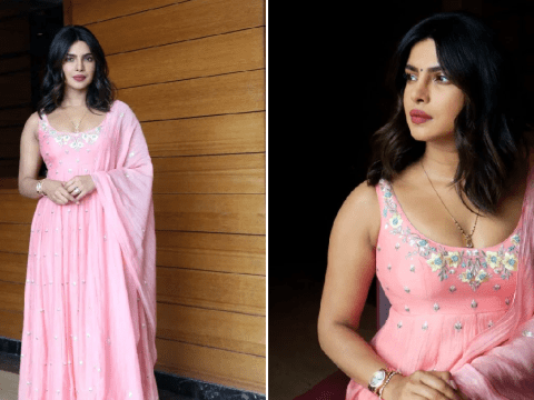 Priyanka Chopra is a vision in pink pishwas while promoting new film The Sky is Pink