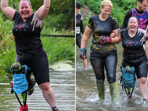 Woman completes 10k obstacle race with hi-tech 'pirate leg' after breaking her ankle