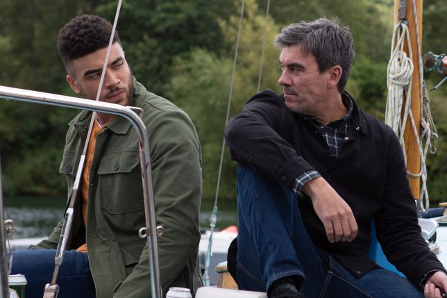 Nate Robinson (Jurell Carter) and Cain Dingle's (Jeff Hordley) in Emmerdale