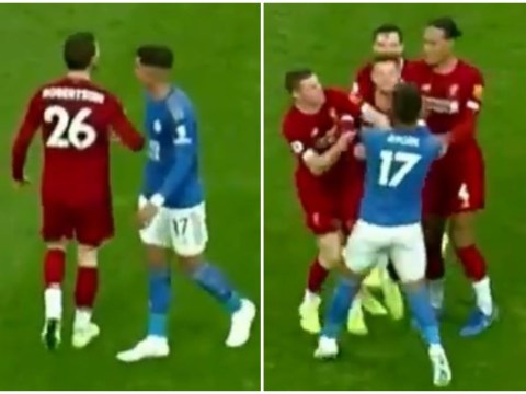 Andy Robertson elbowed Ayoze Perez to spark fight after late Liverpool win over Leicester City