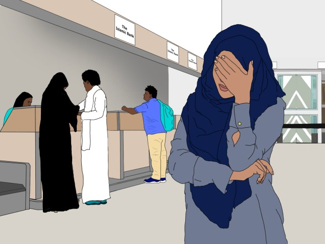 Illustration of a Muslim woman with her hand on her head at an Islamic bank