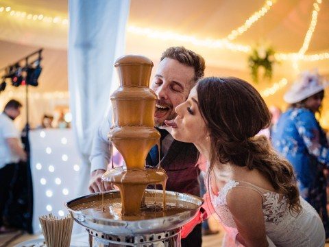 Biscuit-obsessed couple have Lotus Biscoff-themed wedding with melted spread fountain and mini jars as favours