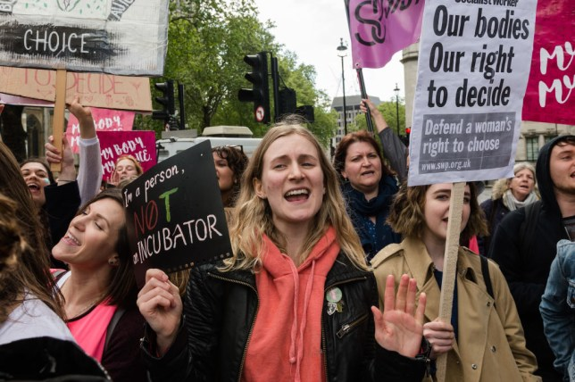 Pro-choice protesters campaign for legal abortion in Northern Ireland