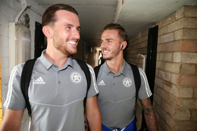 Ben Chilwell and James Maddison arrive for a Leicester match