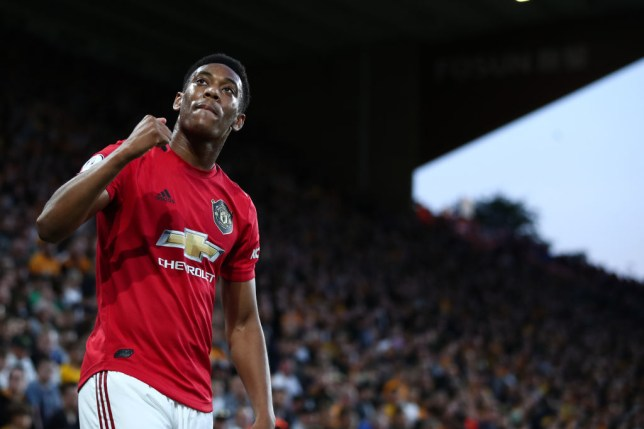 WOLVERHAMPTON, ENGLAND - AUGUST 19: Anthony Martial of Manchester United celebrates scoring the opening goal during the Premier League match between Wolverhampton Wanderers and Manchester United at Molineux on August 19, 2019 in Wolverhampton, United Kingdom. (Photo by Marc Atkins/Getty Images)