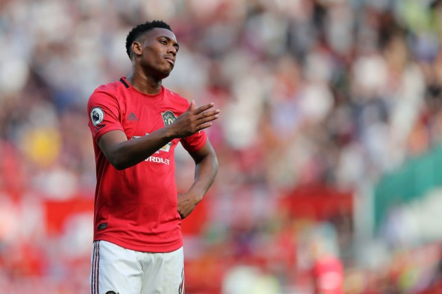 Anthony Martial looks dejected during Manchester United's game against Crystal Palace