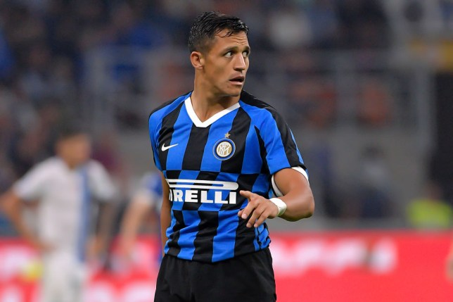 Alexis Sanchez looks on during a match for Inter Milan