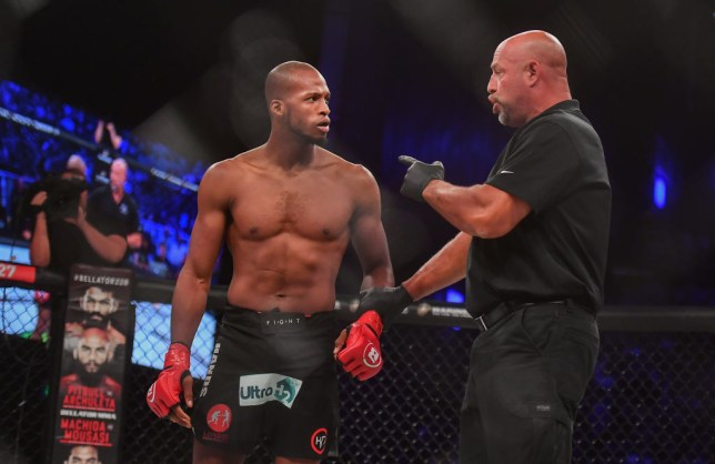 Dublin , Ireland - 27 September 2019; Michael Page in conversation with referee Dan Miragliotta as he has a point deducted during his welterweight bout against Richard Kiely at Bellator Dublin in the 3Arena, Dublin. (Photo By David Fitzgerald/Sportsfile via Getty Images)