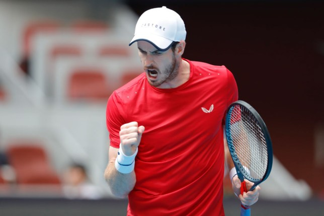 Andy Murray celebrates winning a point against Matteo Berrettini at the China Open in Beijing