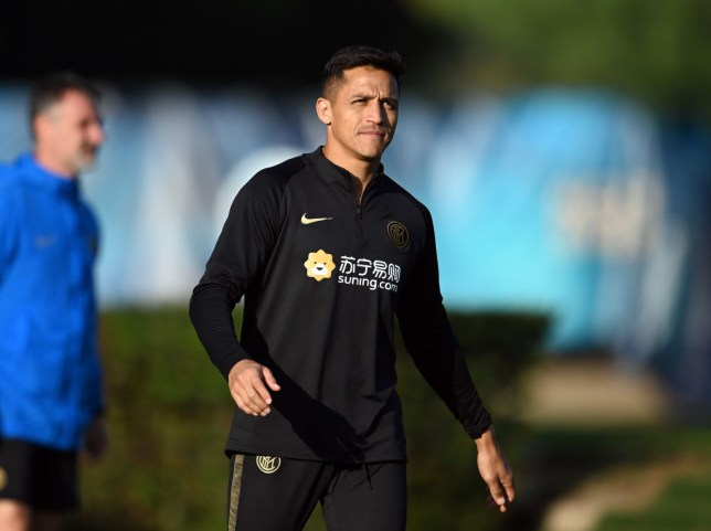 Alexis Sanchez in training with Inter Milan