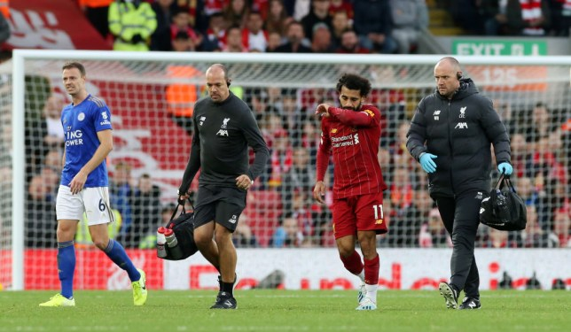 Mohamed Salah limped out of Liverpool's victory against Leicester before the international break