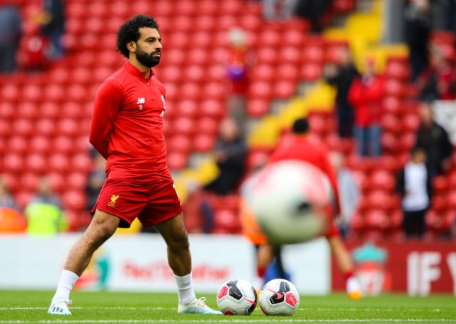 LIVERPOOL, ENGLAND - OCTOBER 05: Liverpool's Mohamed Salah warms up before the Premier League match between Liverpool FC and Leicester City at Anfield on October 5, 2019 in Liverpool, United Kingdom. (Photo by Alex Dodd - CameraSport via Getty Images)