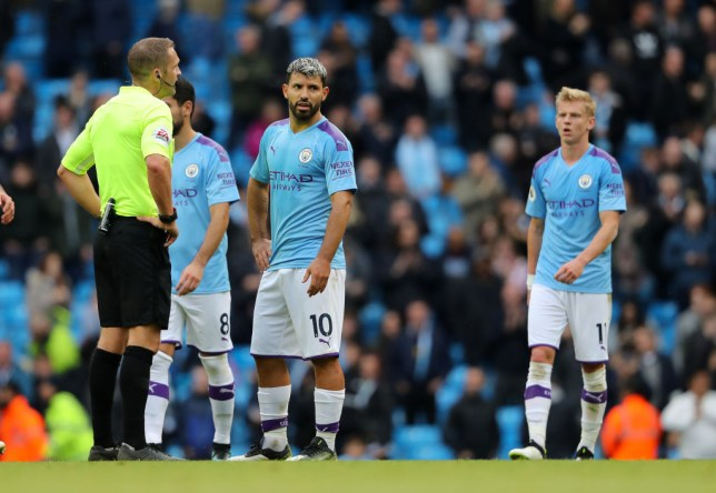 MANCHESTER, ENGLAND - OCTOBER 06: A dejected Sergio Aguero of Manchester City during the Premier League match between Manchester City and Wolverhampton Wanderers at Etihad Stadium on October 6, 2019 in Manchester, United Kingdom. (Photo by Matthew Ashton - AMA/Getty Images)