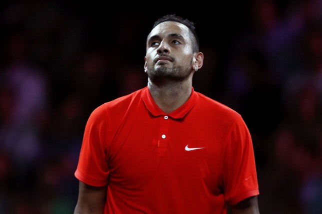 Nick Kyrgios looks on during the Laver Cup