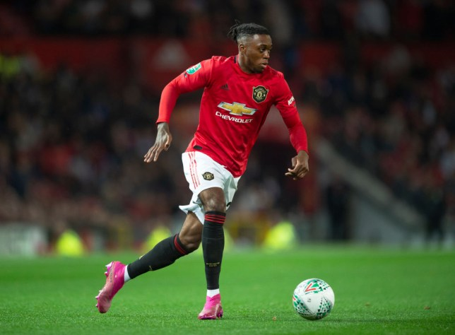 MANCHESTER, ENGLAND - SEPTEMBER 25: Aaron Wan-Bissaka of Manchester United in action during the Carabao Cup Third Round match between Manchester United and Rochdale at Old Trafford on September 25, 2019 in Manchester, England. (Photo by Visionhaus/Getty Images)