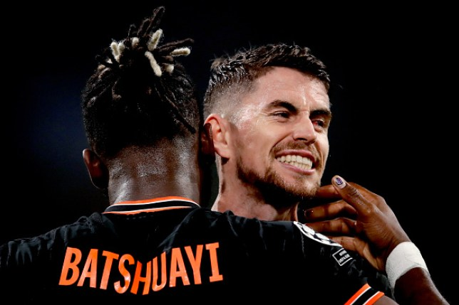 Jorginho celebrates with Michy Batshuayi after his goal against Ajax