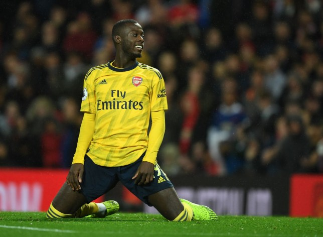 Nicolas Pepe reacts after a missed chance for Arsenal against Manchester United