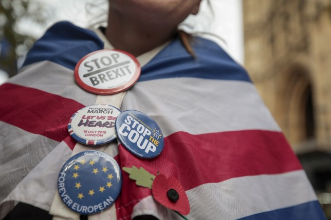 n anti-Brexit demonstrator stands wrapped in an British Union flag, also known as a Union Jack, adorned with with badges near the Houses of Parliament in London