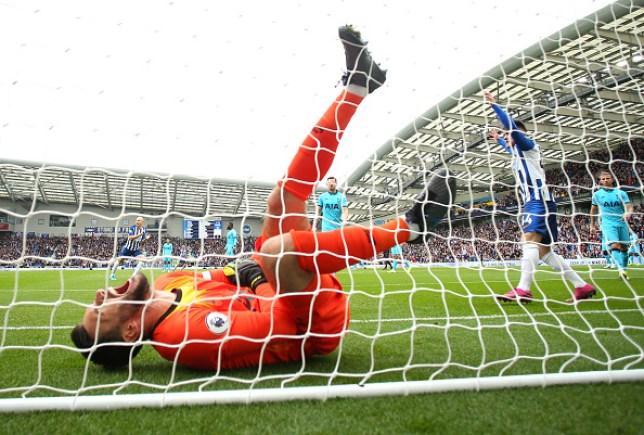 Hugo Lloris screams in agony after dislocating his elbow against Brighton