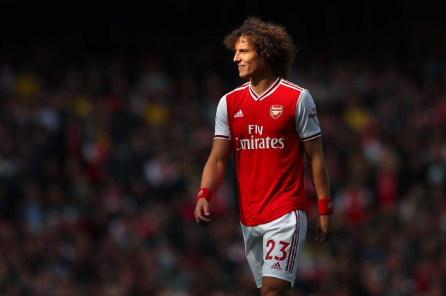 David Luiz smiling during Arsenal's game against Bournemouth
