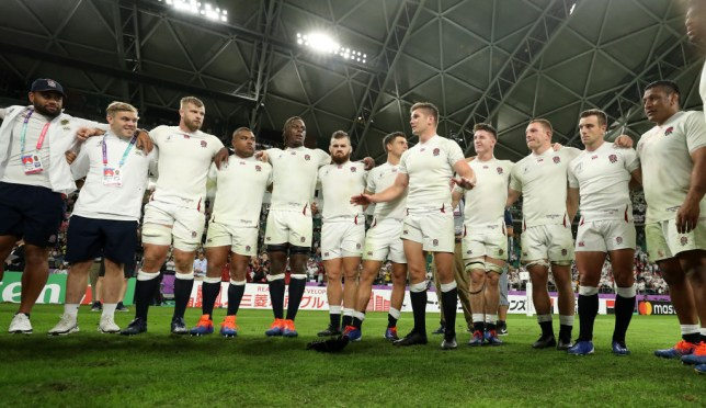 Owen Farrell addressed his team on the pitch after beating Australia