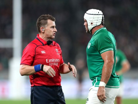 Nigel Owens error costs Ireland a try in Rugby World Cup quarter-final against New Zealand