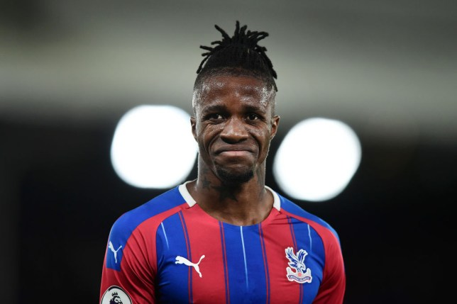 Wilfried Zaha reacts during Crystal Palace's game against Manchester City