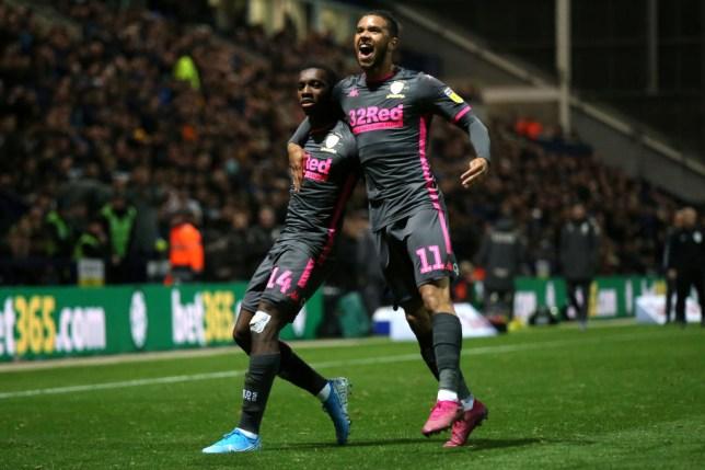 Eddie Nketiah celebrates with Tyler Roberts after scoring for Leeds against Preston