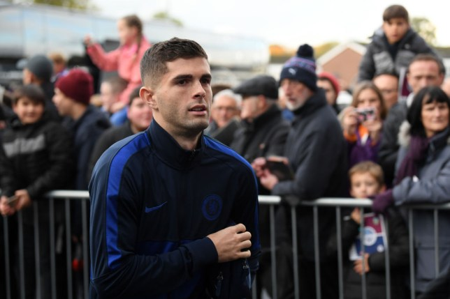 Christian Pulisic arrives with Chelsea for the game against Burnley