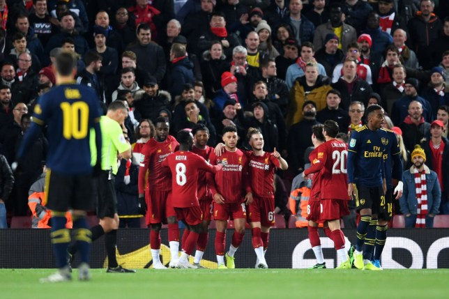 Arsenal defender Shkodran Mustafi scored an own goal against Liverpool at Anfield