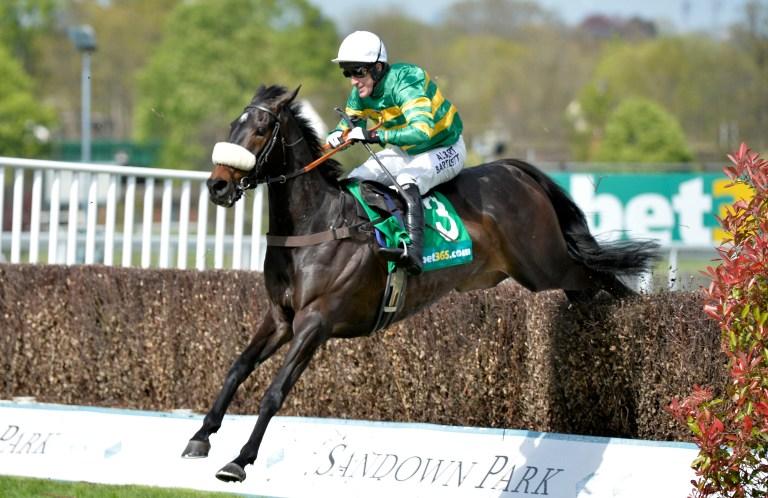 Jockey AP McCoy jumping the last fence on Mr Mole at Sandown Park