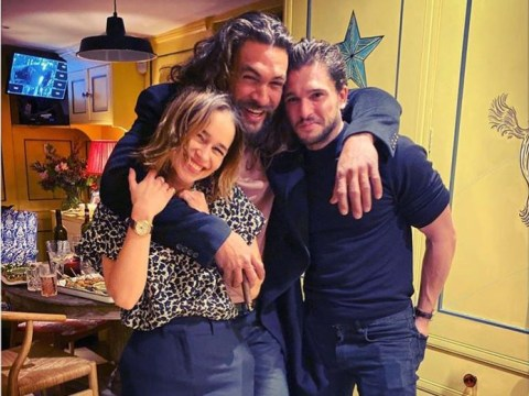 Emilia Clarke reunites with Game of Thrones co-stars Jason Momoa and Kit Harington at her birthday bash