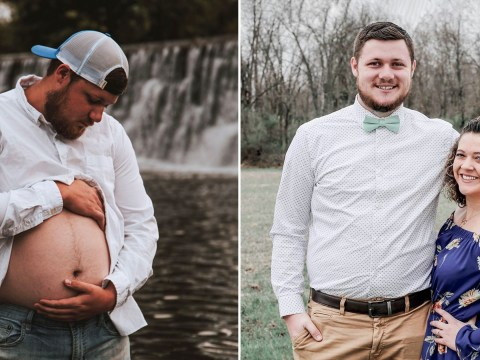 Dad-to-be steps in to pose for maternity photoshoot when pregnant wife gets ill