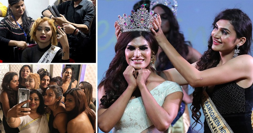 Contestants prepare backstage during Miss Transqueen India 2019, in New Delhi