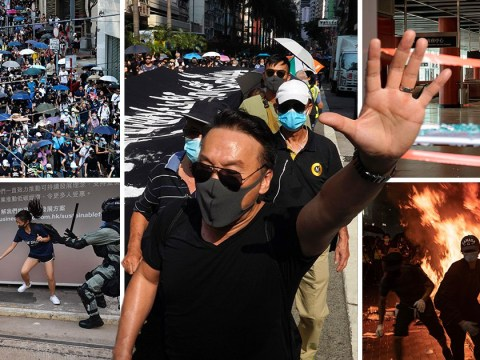 Pro-democracy activists defy face mask ban and take to Hong Kong streets