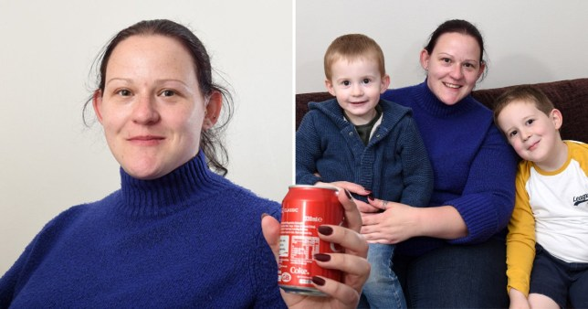 Elizabeth Perkins, 30, says her family's life has been 'made hell because of the sugar tax' (Picture: Caters)