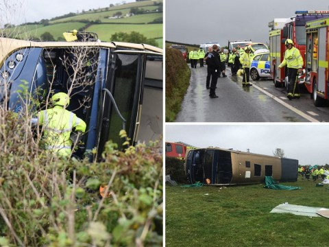 Passenger 'heard screams' after bus overturned 'trapping 20'