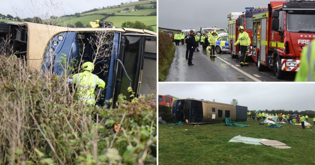 Twenty people were left trapped inside the bus when it overturned (Picture: PA/SplashNews)