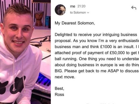 Student tricks online scammer into sending him £25
