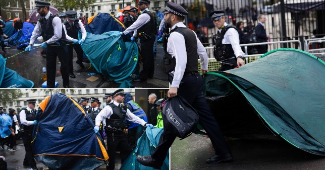 Extinction Rebellion police tent removal