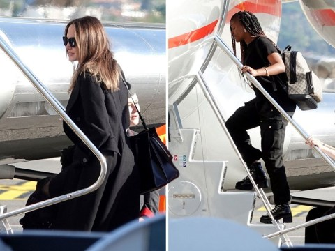 Angelina Jolie and her brood board private jet ahead of Maleficent's London premiere