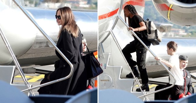 Angelina Jolie And Brood Board Private Jet Ahead Of