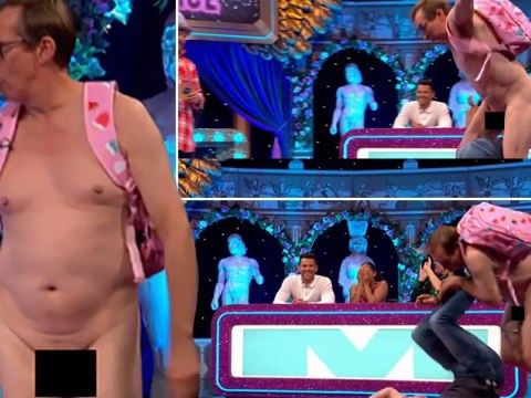 James Blunt trips up naked man and brushes his manhood on Celebrity Juice