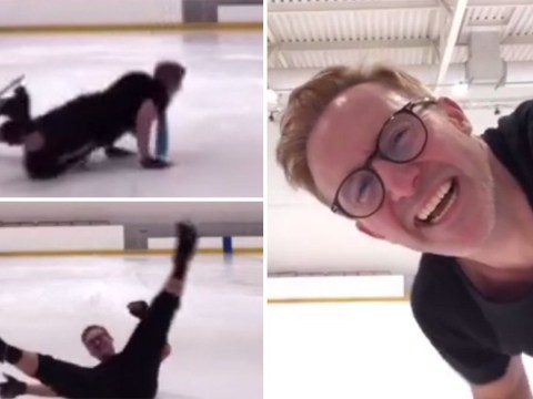 Poor H from Steps falls in Dancing On Ice training as he rehearses to Tragedy – and it's a tragedy