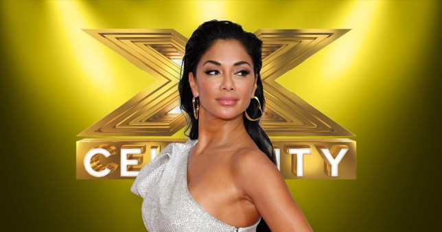 Judge Nicole Scherzinger in front of an X Factor Celebrity sign