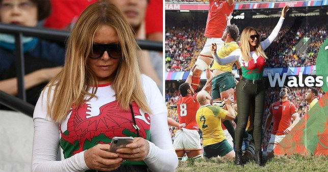 Carol Vorderman supporting Wales at the Rugby World Cup